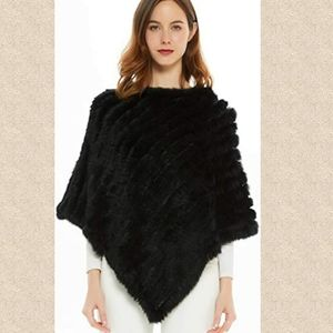 Gorgeous rabbit fur poncho - wrap warm